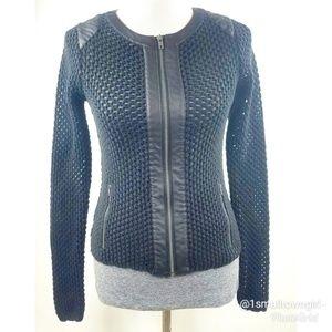 Studio Y Moto Jacket crocheted open knit black S